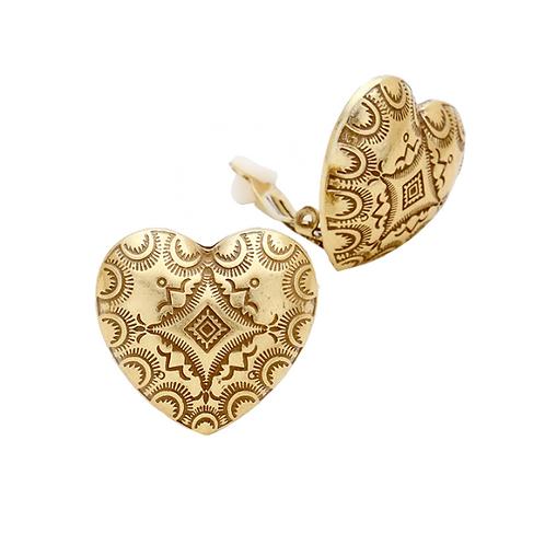 Retro 70s style clip-on earrings, heart