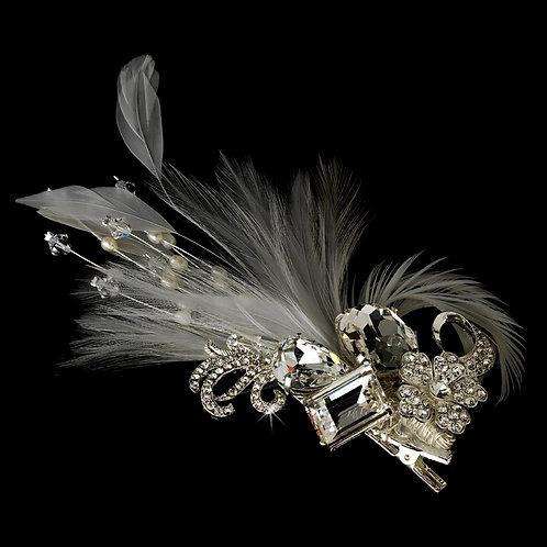 Feathered Crystal Brooch Hair Clip