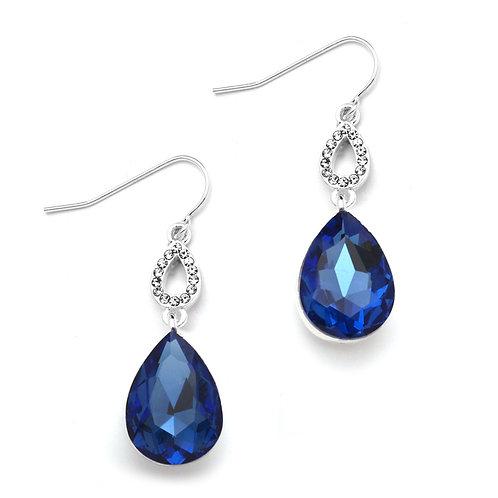 Royal blue pear drop crystal hook earrings