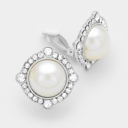 Vintage styled ivory pearl clip-on button earrings
