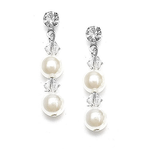 Double ivory pearl and crystal drop earrings