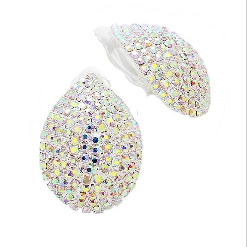 AB crystal domed teardrop clip-on earrings