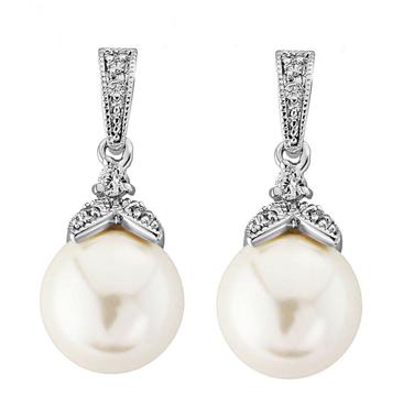 Vintage Styled CZ Pearl Earrings