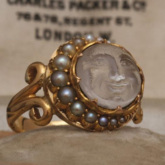 Antique Man in the Moon Ring