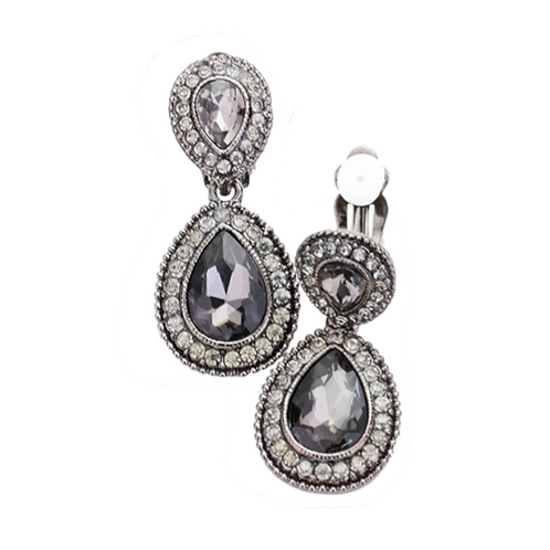 Dainty Pear Drop Clip Earrings, Black Diamond