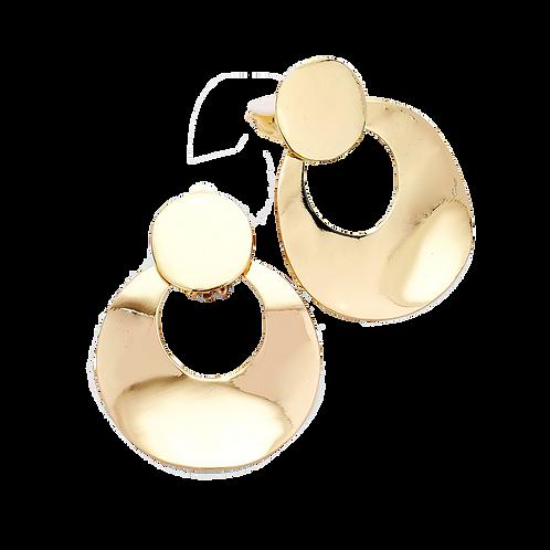 Hinged Drop Hoop Clip Earrings, Bright Gold