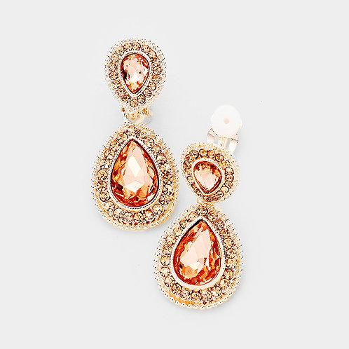 Dainty Pear Drop Clip Earrings, Peach Rose Gold