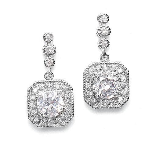 Art deco square drop bridal earrings