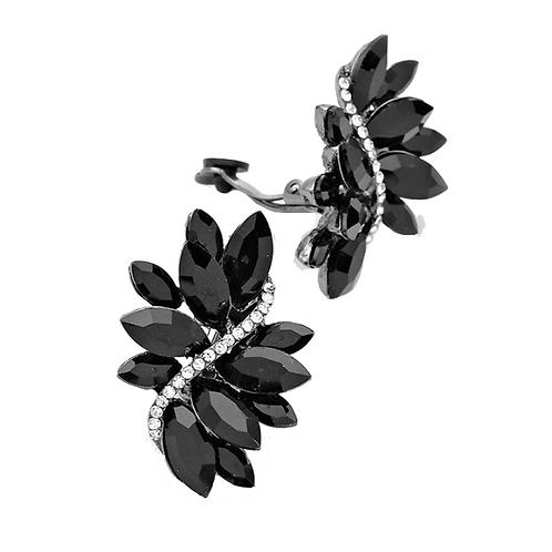 Black Marquis Crystal Swirl Clip On Earrings
