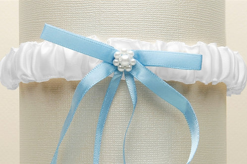 White Satin Bridal Tossing Garter with Blue Ribbon & Pearls