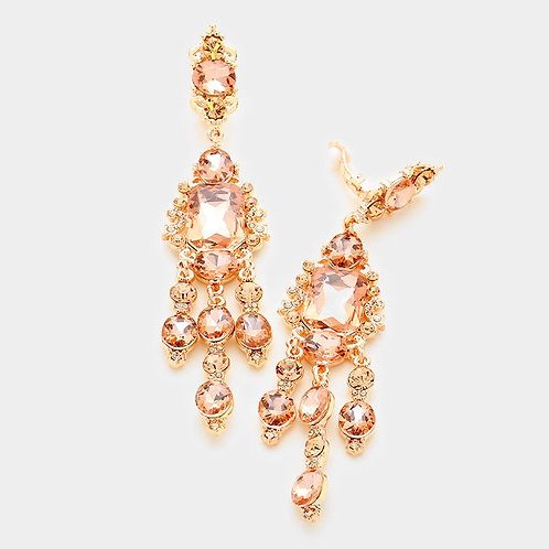 Stunning Long Rose Gold Clip Earrings