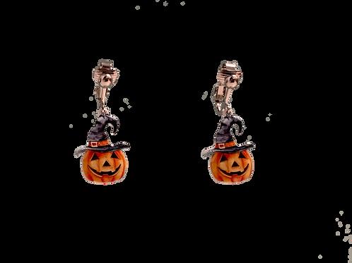 Halloween Pumpkin Clip On Earrings