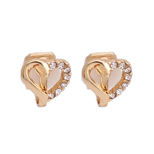 Dainty Rhinestone Gold Heart Clip Earrings