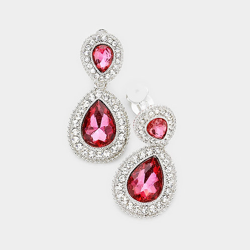 Dainty Pear Drop Clip Earrings, Fuchsia