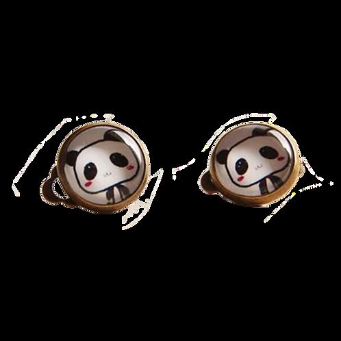 Cute Panda Button Clip-On Earrings
