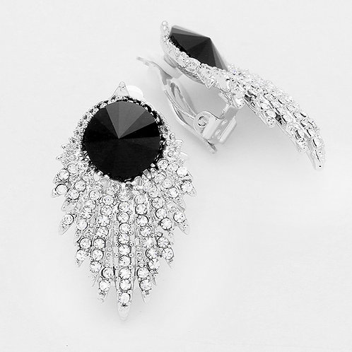 Jet Black Art Deco Rhinestone Clip Earrings