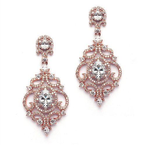 Clip-On Victorian Scroll Earrings, Rose Gold