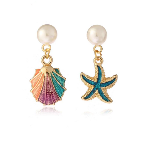 Enamelled Shell, Starfish and Pearl Clip Earrings