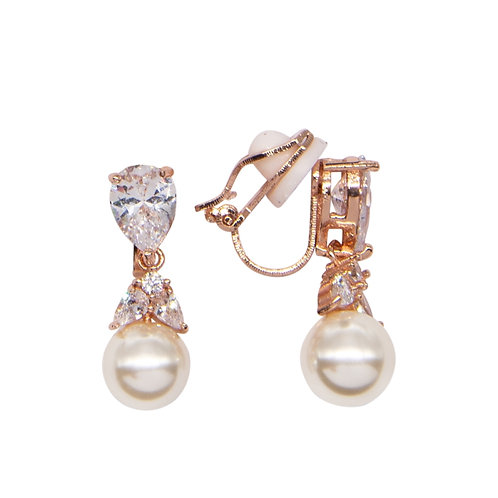 Glitzy Pearl Drop Earrings, Clip On, Rose Gold