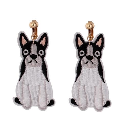 Glum Dog Fabric Patch Clip Earrings