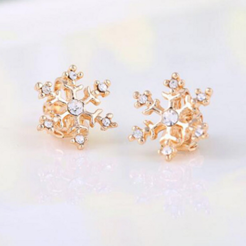 Gold Snowflake Clip-On Earrings