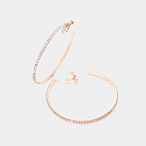 Rhinestone studded clip on hoops rose gold
