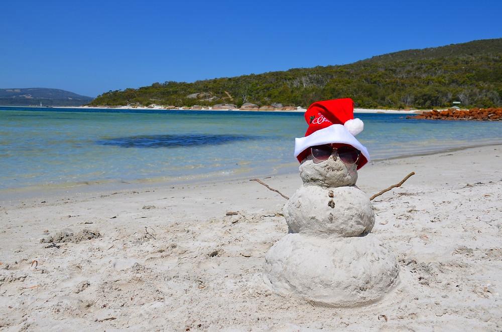 Summer Snowman on the Beach