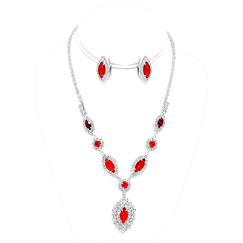 Clip on earring necklace set in red and clear rhinestone