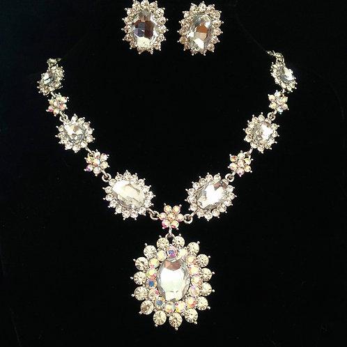 Formal Necklace Set with Aurora Borealis Crystals