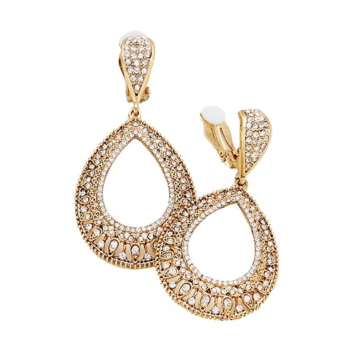 Gold Rhinestone Filigree Clip-On Dangle Earrings