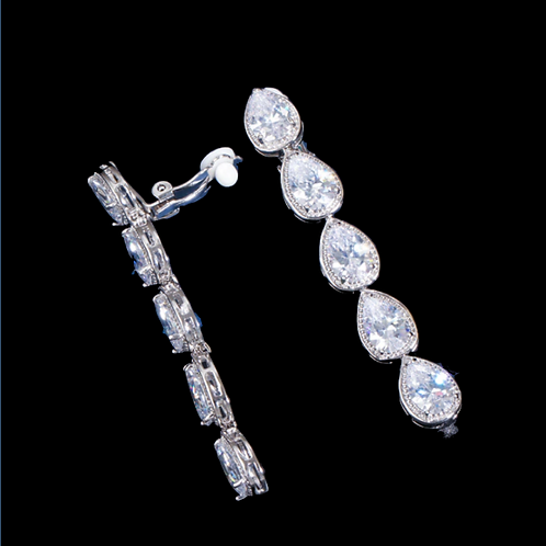 Raindrops CZ Dangle Clip On Earrings