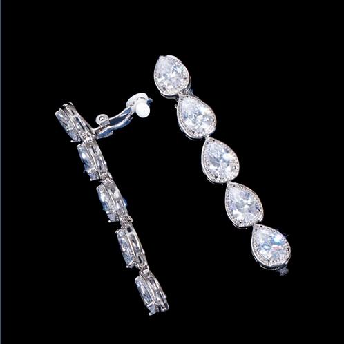 Raindrops CZ Dangle Clip On Earrings