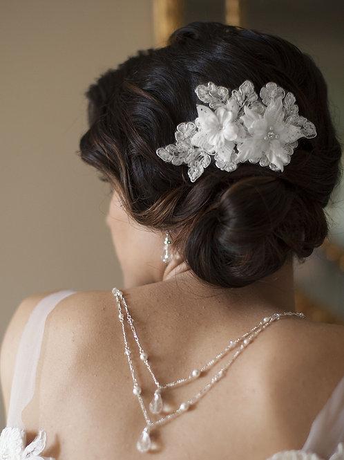 Teardrop Back Necklace Set, White Pearl & Crystal