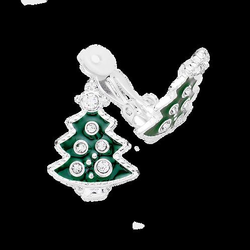 Silver Christmas Tree Clip On Earrings