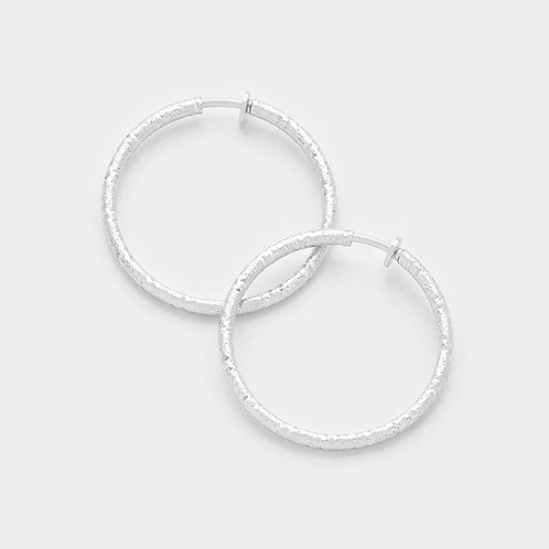 4.5cm Mottled Texture Silver Clip On Hoops