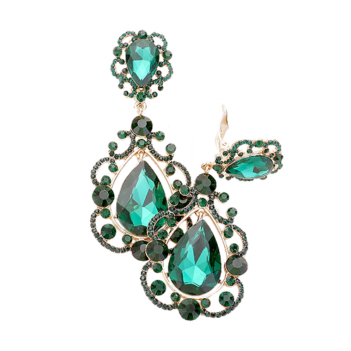 Elaborately Framed Pear Drop Clip Earrings, Emerald