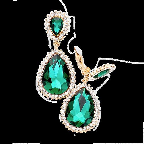 Classic Rhinestone Framed Emerald Drop Earrings