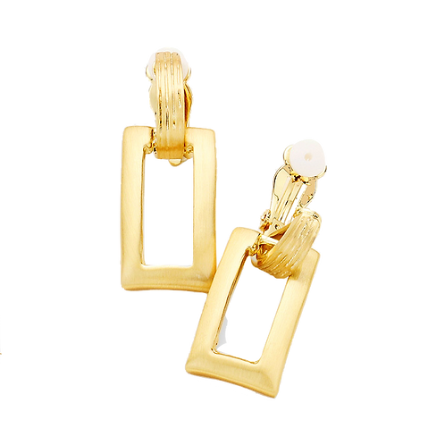 Gold Rectangle Door Knocker Clip Earrings