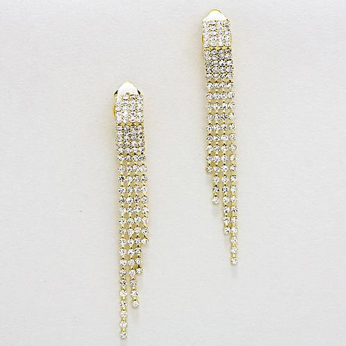 Rhinestone Fringe Clip On Earrings, Gold