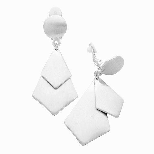 Double Diamond Silver Clip Earrings