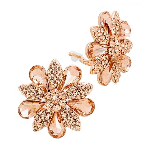 Rose gold daisy clip on earrings