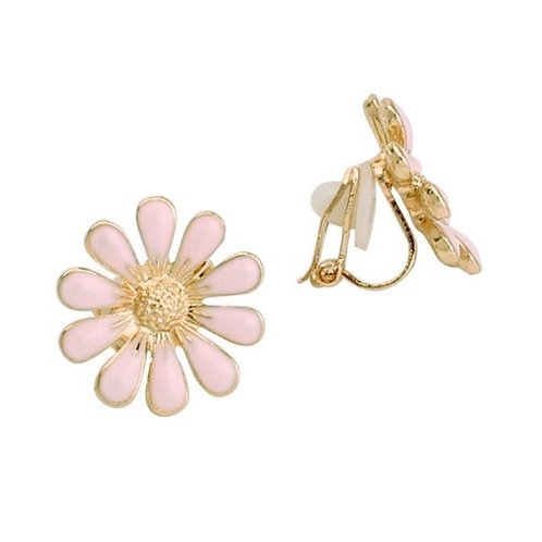Peach Daisy Clip Earrings