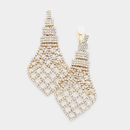 Glamorous Rhinestone clip earrings, long gold