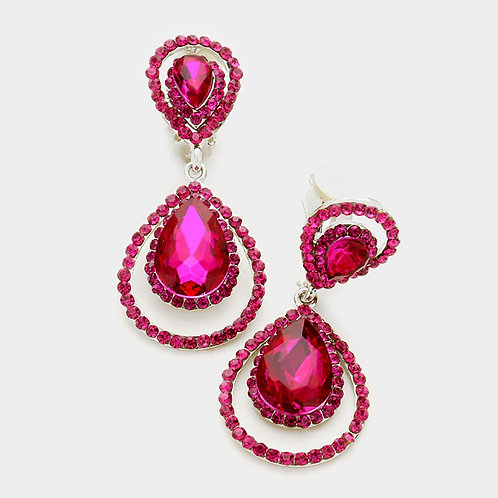 Pave Framed Double Pear Drop Clip Earrings, Fucshia Pink