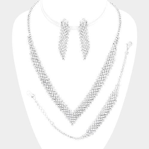 Silver Tone Crystal V-Shaped Necklace Set