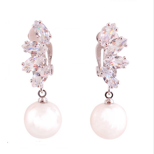 Pearl and Marquis Crystal Clip Earrings
