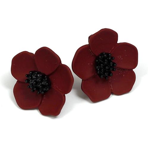 Dark Poppy Flower Clip On Earrings