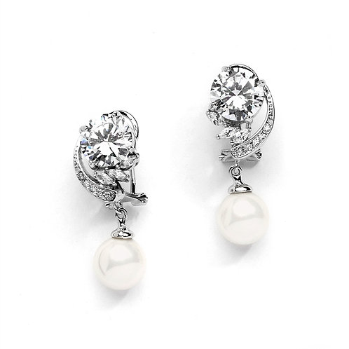 Stunning pearl and crystal drop lever back bridal earrings