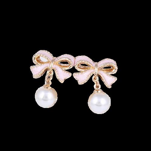 Pink Enamel Ribbon and Pearl Clip Earrings
