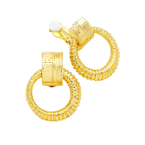 Retro door knocker clip earrings, gold